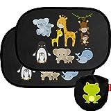 Premium Sonnenschutz von Wendelin - Universal Auto Sonnenschutz für Kinder - Autofenster Sonnenblende mit Tiermotiven für Babys - [2 Stück] Selbsthaftender Autosonnenschutz inklusive Tasche