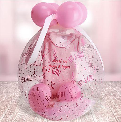 Geschenke zur Geburt Luftballon mit Babykleidung