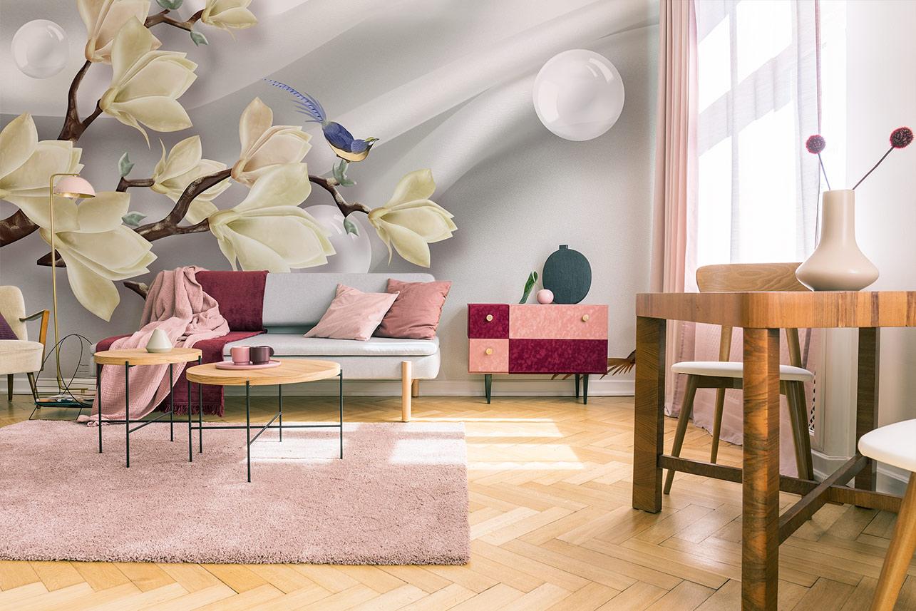 Gelbe Magnolien Fototapete im Wohnzimmer