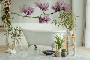 Eine rosa Magnolienzweig Fototapete bringt Leben ins Bad
